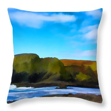 Painted Lighthouse Throw Pillow by Steve McKinzie