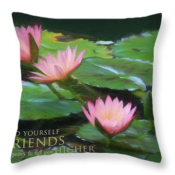 Painted Lilies With Message Throw Pillow