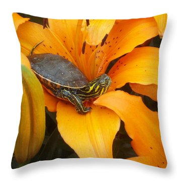 Painted Lilly Throw Pillow