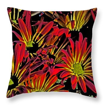 Painted Mums Throw Pillow by Judy Wolinsky