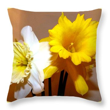 Painted Okanagan Daffodils Throw Pillow by Will Borden