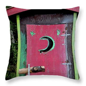 Painted Outhouse Throw Pillow by Art Block Collections