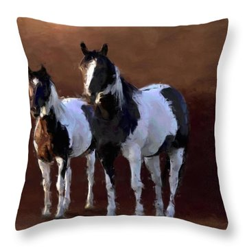 Painted Ponies Throw Pillow by Roger D Hale