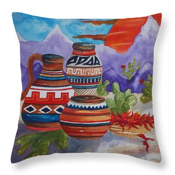 Painted Pots And Chili Peppers Throw Pillow