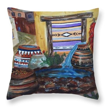 Painted Pots And Chili Peppers II  Throw Pillow