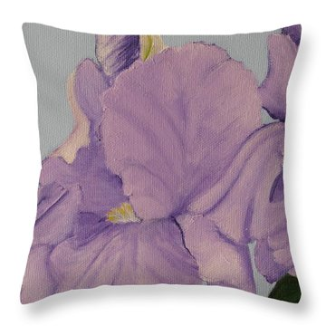 Throw Pillow featuring the photograph Painted Purple Irises by Margaret Newcomb