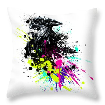 Painted Raven Throw Pillow by Jeremy Scott