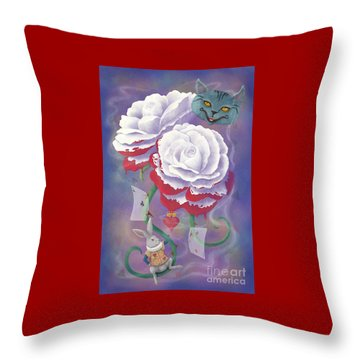 Painted Roses For Wonderland's Heartless Queen Throw Pillow by Audra D Lemke