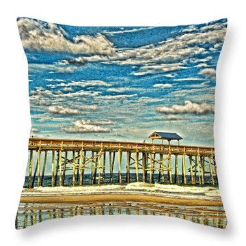 Surreal Reflection Pier Throw Pillow