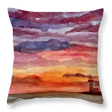 Painted Sky Over Ocean Throw Pillow