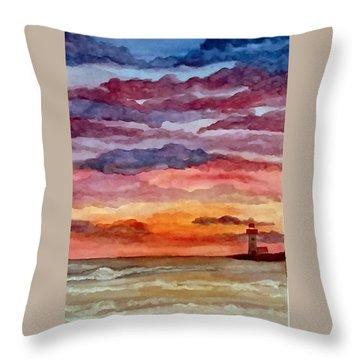 Painted Sky Over Ocean Throw Pillow