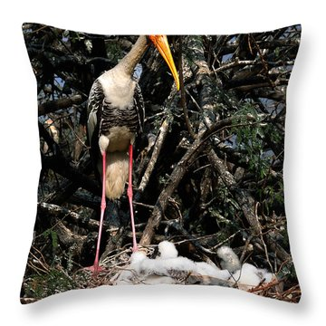 Painted Stork With Chicks Throw Pillow by Manjot Singh Sachdeva