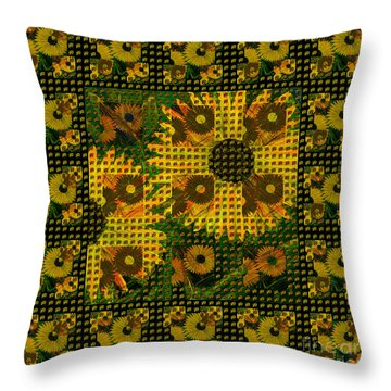 Painted Sunflower Abstract Throw Pillow