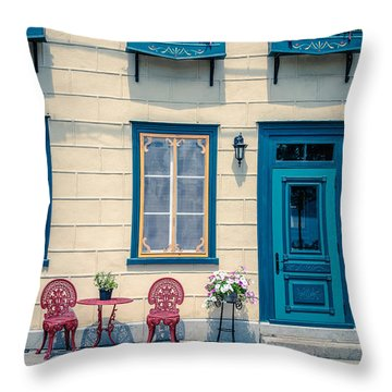 Painted Townhouse In Old Quebec City Throw Pillow