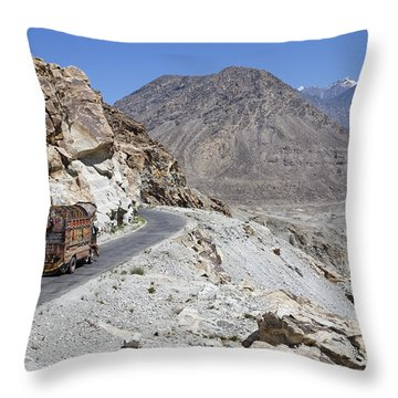 Painted Truck On The Karakorum Highway In Pakistan Throw Pillow by Robert Preston