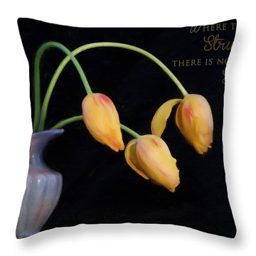 Painted Tulips With Message Throw Pillow