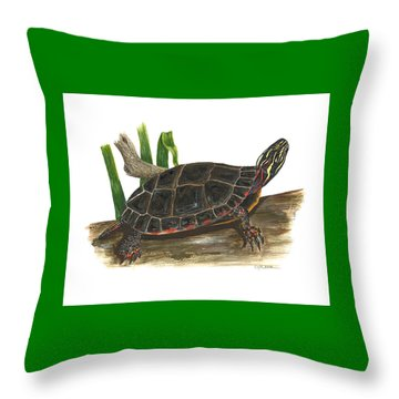 Painted Turtle Throw Pillow by Cindy Hitchcock
