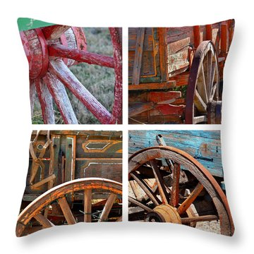 Painted Wagons Throw Pillow by Art Block Collections