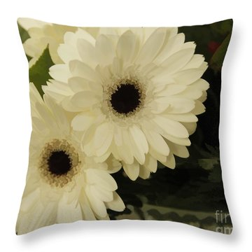 Painted White Flowers Throw Pillow