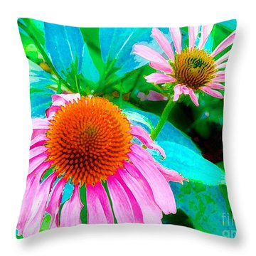 Throw Pillow featuring the photograph Painterly Coneflowers by Annie Zeno