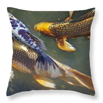 Painterly Fishpond Throw Pillow by Adria Trail