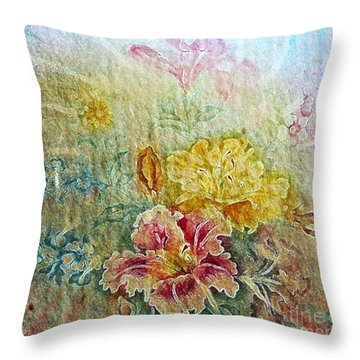 Painterly Floral Throw Pillow by Judy Palkimas