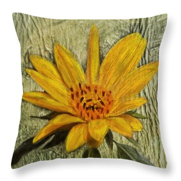Painterly Sunflower Throw Pillow
