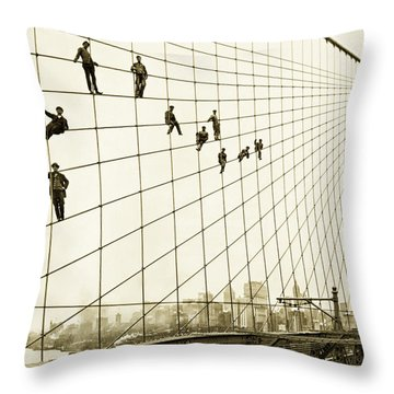 Painters On The Brooklyn Bridge 1914 Throw Pillow by Mountain Dreams