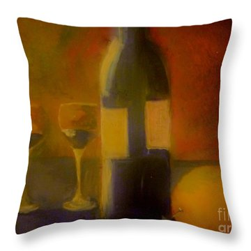 Throw Pillow featuring the painting Painting And Wine by Lisa Kaiser