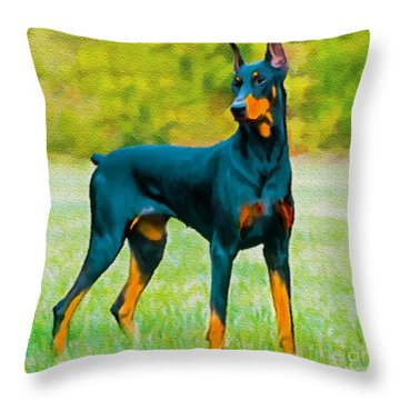 Painting Doberman Pincher Throw Pillow by Bob and Nadine Johnston