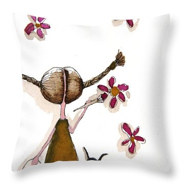 Painting Flowers Throw Pillow by Lucia Stewart