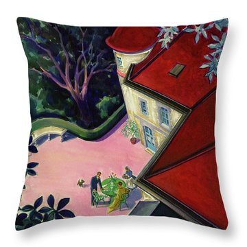 Painting Of A House With A Patio Throw Pillow