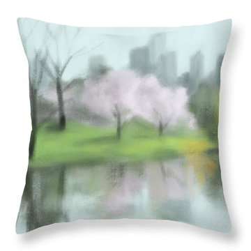 Painting Of Central Park In Spring Throw Pillow by Beverly Brown