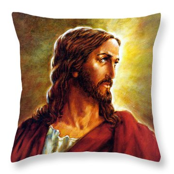 Painting Of Christ Throw Pillow by John Lautermilch
