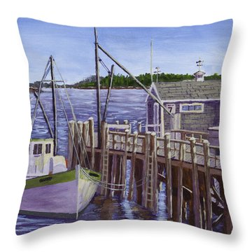 Fishing Boat Docked In Boothbay Harbor Maine Throw Pillow