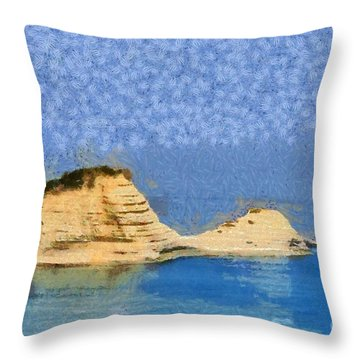 Islet In Peroulades Area Throw Pillow