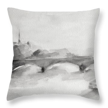 Painting Of Paris Bridge On The Seine With Eiffel Tower Throw Pillow by Beverly Brown