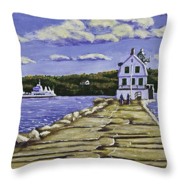 Rockland Breakwater Lighthouse In Maine Throw Pillow