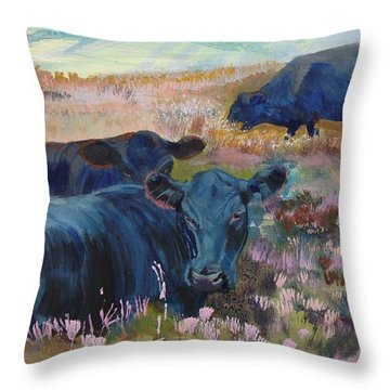 Painting Of Three Black Cows In Landscape Without Sky Throw Pillow