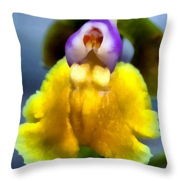 Painting Of Yellowe Orchid Throw Pillow