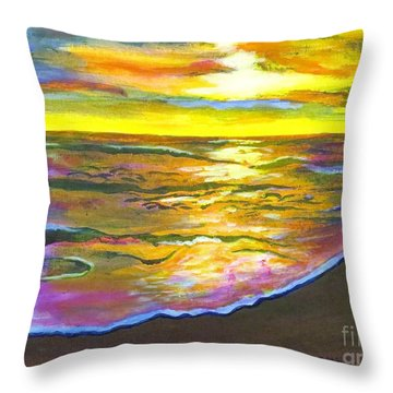 Painting Sanibel Island Beach Throw Pillow