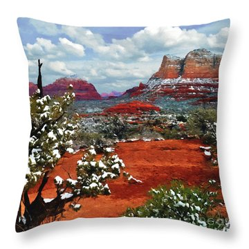 Painting Secret Mountain Wilderness Sedona Arizona Throw Pillow