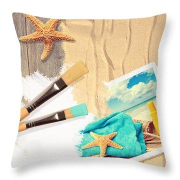 Painting Summer Postcard Throw Pillow by Amanda Elwell