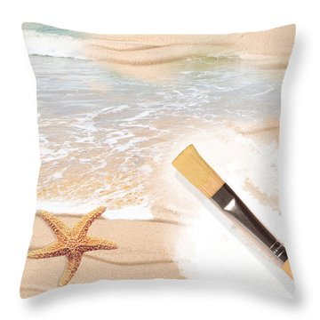 Painting The Beach Throw Pillow by Amanda Elwell