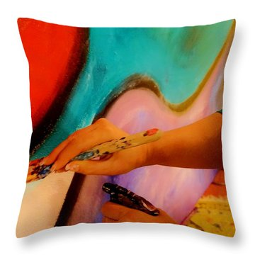 Painting The Night Away Throw Pillow by Lisa Kaiser