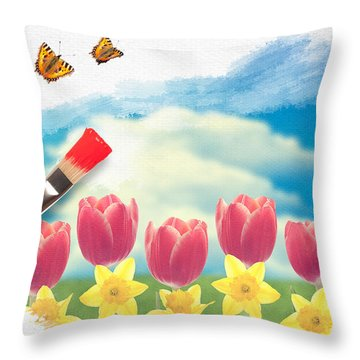 Painting Tulips Throw Pillow by Amanda Elwell