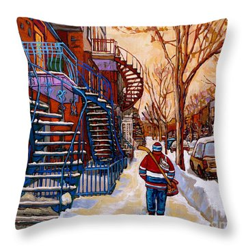 Paintings Of Montreal Beautiful Staircases In Winter Walking Home After The Game By Carole Spandau Throw Pillow