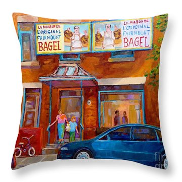 Paintings Of Montreal Fairmount Bagel Shop Throw Pillow by Carole Spandau