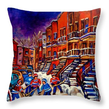 Paintings Of Montreal Hockey On Du Bullion Street Throw Pillow by Carole Spandau