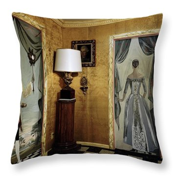 Paintings On The Walls Of Tony Duquette's House Throw Pillow